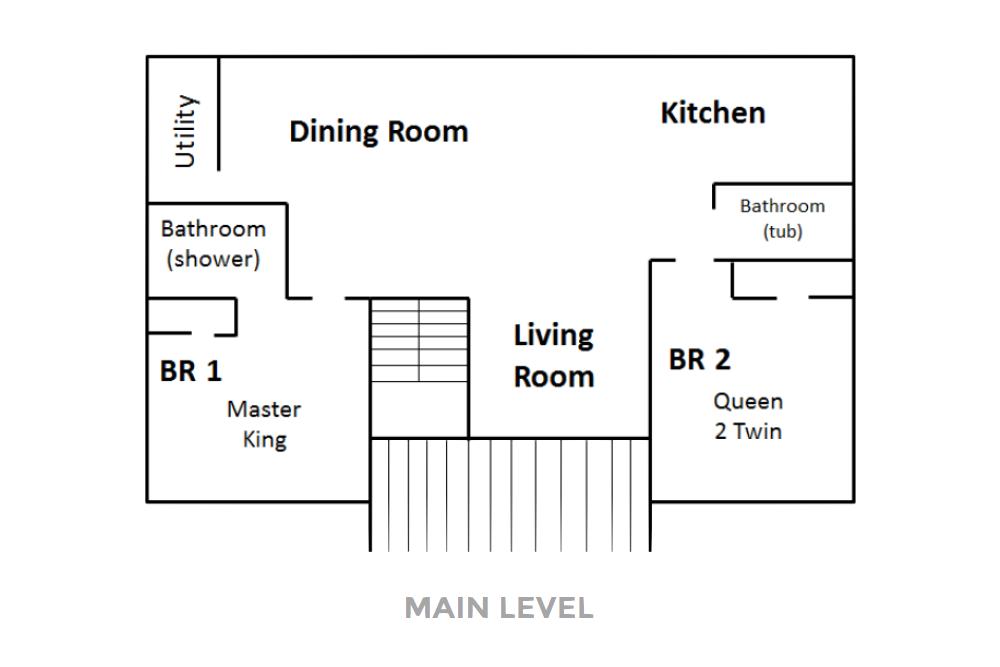 Norris Lake Villas | Norris Lake Cabin Rentals | Cedar Cove Lakeside Cabin Floor Plan 01