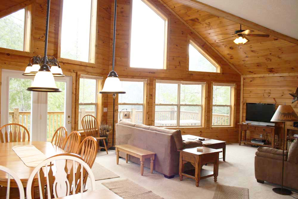 Norris Lake Villas | Norris Lake Cabin Rentals | Night Sky Lakeside Cabin Great Room