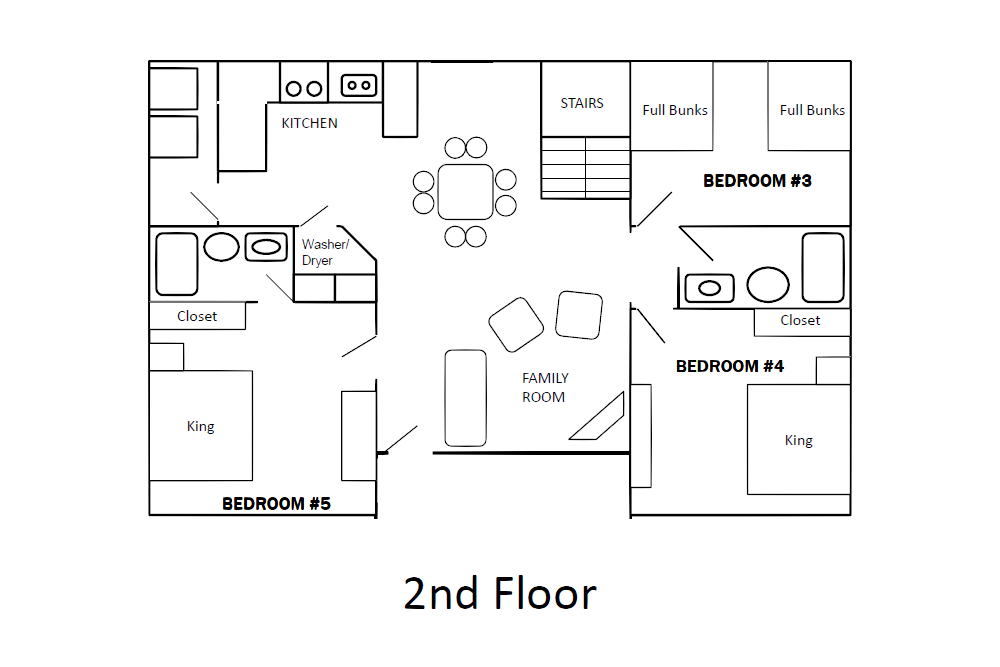 Norris Lake Cabin Rentals | Slice of Heaven Lake Side Cabin Floor Plan 2 | Norris Lake Villas