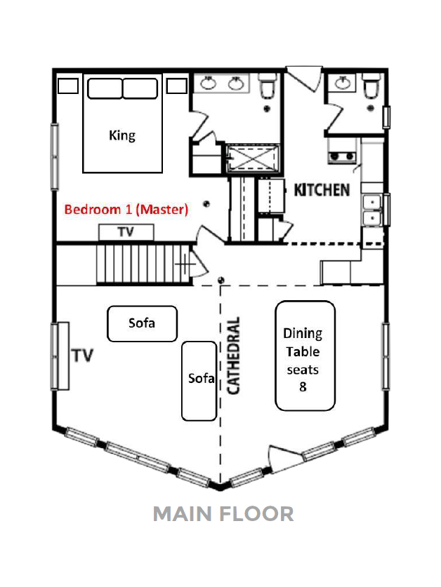 Norris Lake Villas | Norris Lake Cabin Rentals | Wake Dreams Lakeside Cabin Floor Plan
